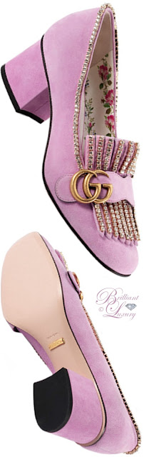 Brilliant Luxury ♦ Gucci suede mid-heel pumps with crystals