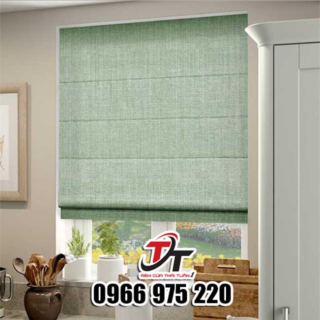 Mẫu màn cửa sổ màu xanh bạc hà sang trọng