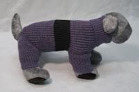 Sveter De Luxe - fialový s tmavým prúžkom