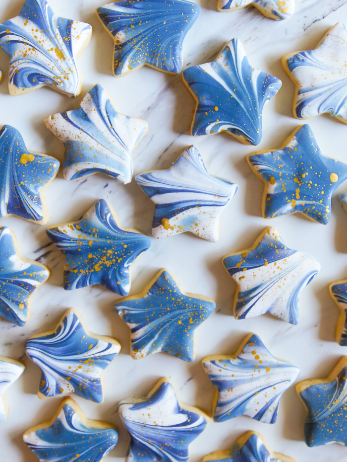 marbled + gold-flecked star cookies