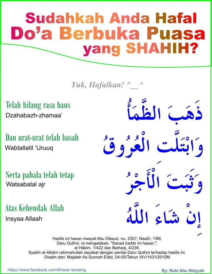 Niat Puasa Ganti (Qadha) dan Doa Buka Puasa Syawal
