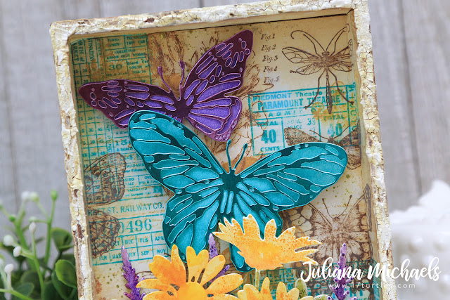 Collect Beautiful Moments Vignette Box Tim Holtz Sizzix Chapter 1 2020 Scribbly Butterflies by Juliana Michaels