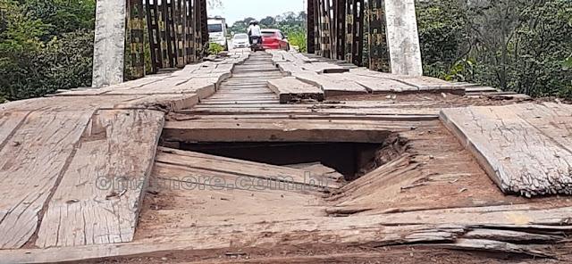 Ponte danificada pode deixar os municípios de Guajará-Mirim e Nova Mamoré isolados