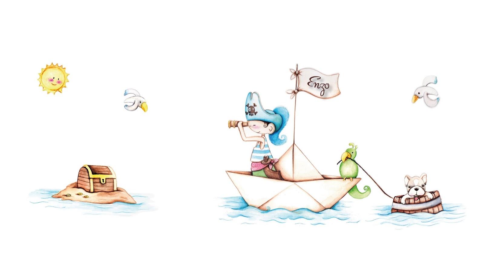Decopared vinilos de piratas personalizados - Papel pintado piratas ...