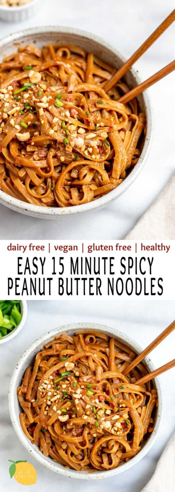 Spicy peanut butter noodles make the best easy vegan dinner recipe. They're healthy, gluten free