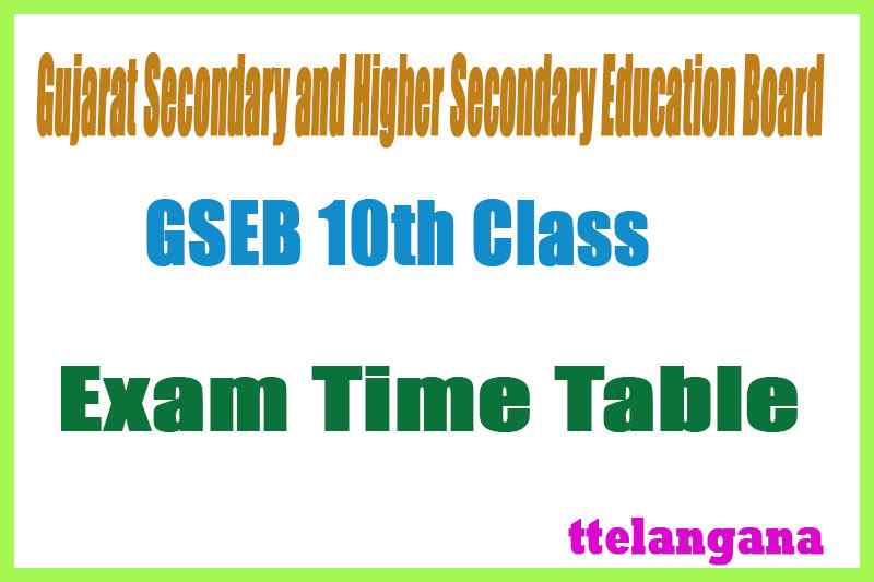 GSEB SSC Time Table Download Gujarat 10th Exam Time Table
