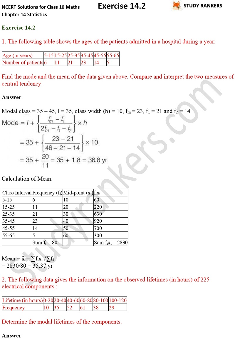NCERT Solutions for Class 10 Maths Chapter 14 Statistics Exercise 14.2 Part 1