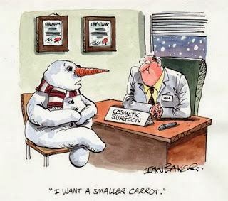 Funny snowman cartoon picture - Doctor I want a smaller carrot cosmetic surgeon