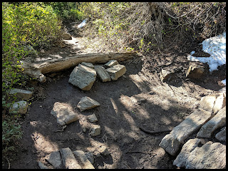 Log That tries and blocks the path to let you know this is not the correct trail.  Problem is that it is such a pretty view out there that it definitely looks like the main trail.  Go ahead and take it and see the falls, but then remember you need to get back on the trail to get up to the top of the falls.