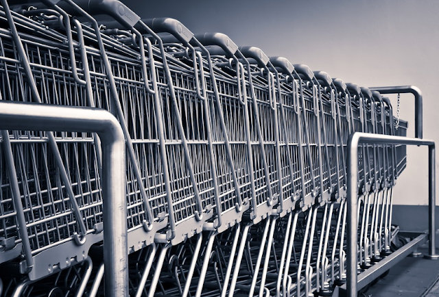 A row of shopping trolleys