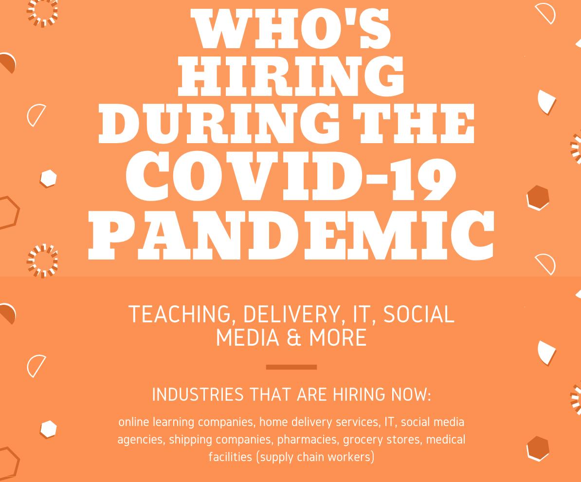 companies industries who's hiring during the coronavirus COVID-19 pandemic