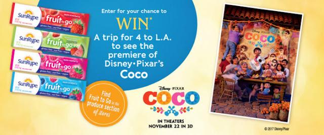 SunRype USA Sweepstakes - Win Screening Passes to Disney Pixar's Coco!