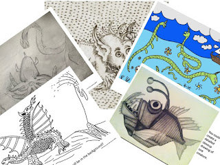Composite photo of images of sea monsters and explorers lesson