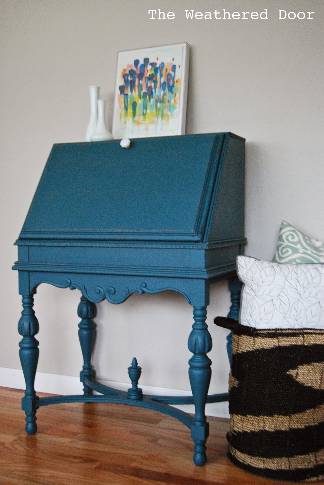desk chair teal brown covers an antique secretary in a deep the weathered door