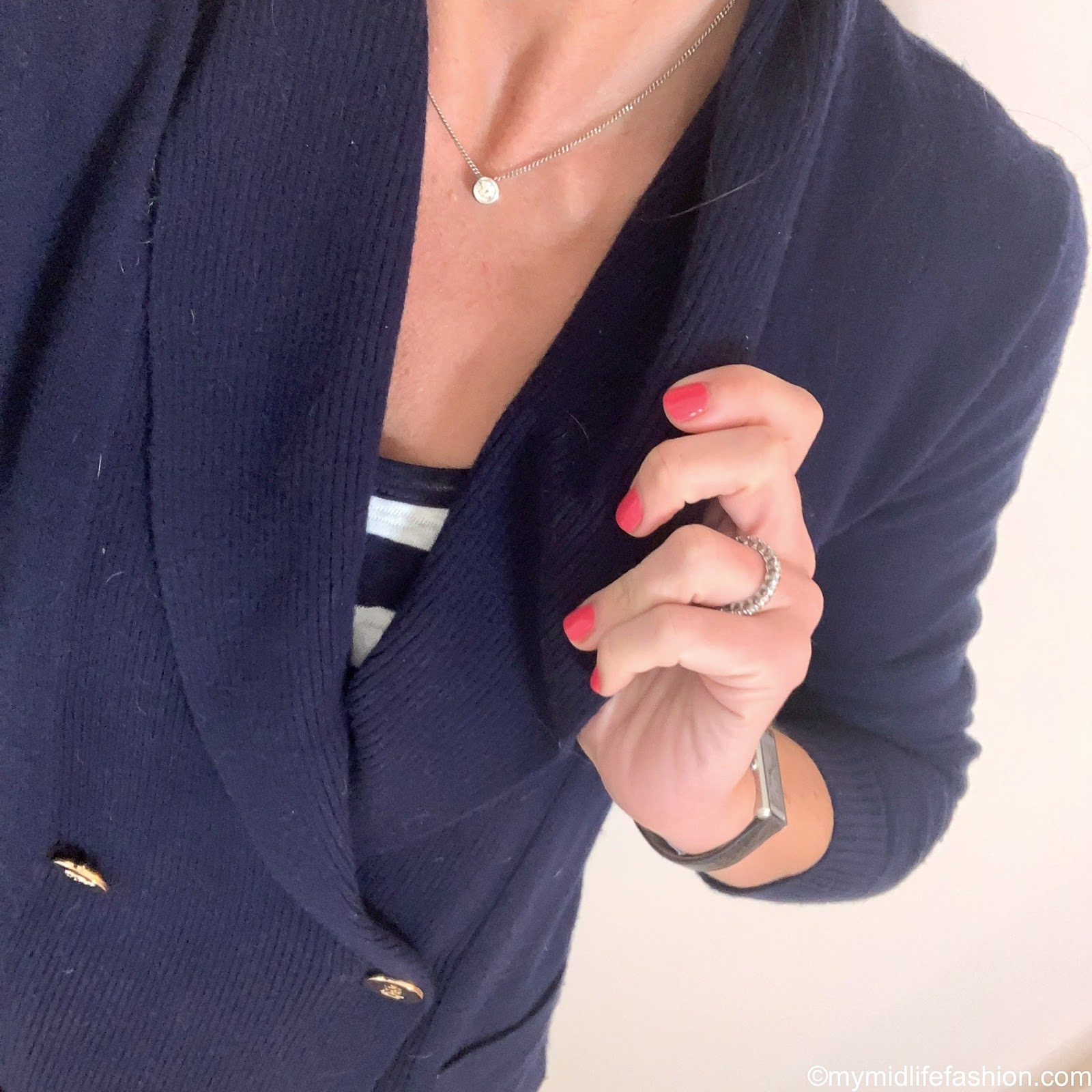 my midlife fashion, Ralph Lauren double breasted knitted jacket, j crew vintage cotton stripe tank top, j crew 8 toothpick in classic wash, j crew suede tassel flats