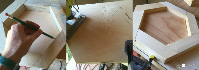 cutting out hexagon plywood back