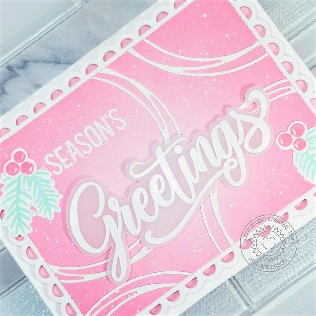 Sunny Studio Stamps: Season's Greetings Circle Snowflake Frame Dies Frilly Frame Dies Winter Holiday Card by Ana Anderson