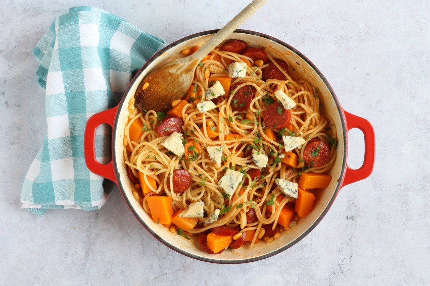 Butternut Squash & Chorizo Spaghetti