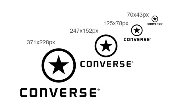 converse logo in different scales