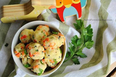 401. Kuleczki z kaszy jaglanej z pieczonymi warzywami na przekąskę dla niemowlaka i nie tylko