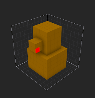 Adding single voxels using the Voxel brush in MagicaVoxel