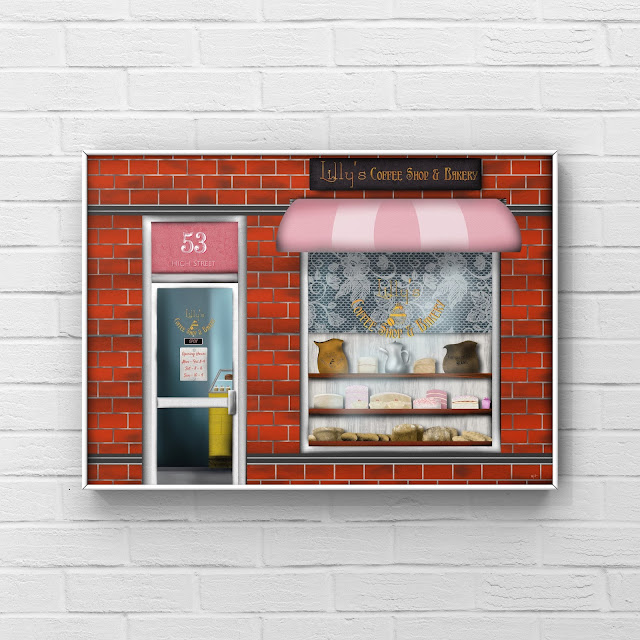 coffee and cake shop front art