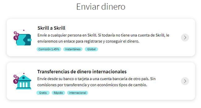 Envío de dinero en Skrill