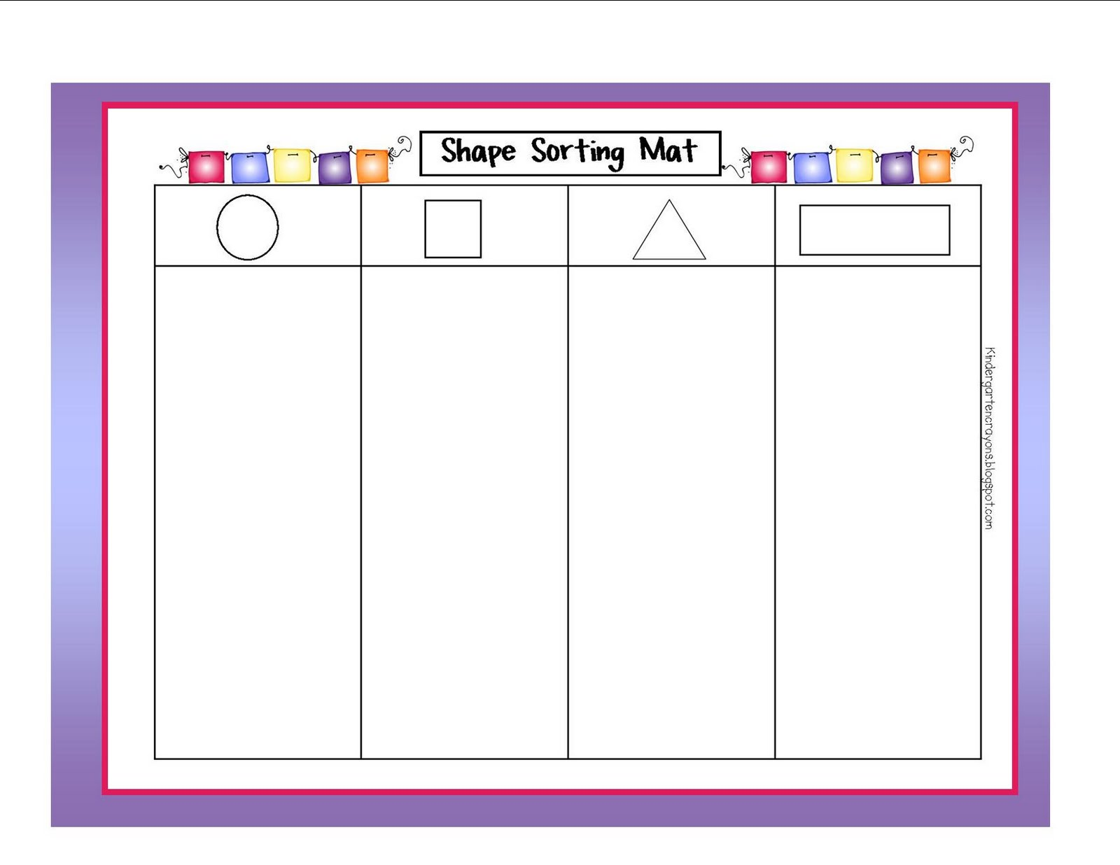 Kindergarten Shape Shorting Worksheet Printables