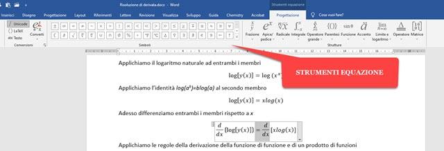 strumenti equazioni di word