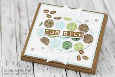 Merciverpackung; Stampinup Kaffeeset; Kaffee Ole; Schokoladenverpackung; Mitbringsel; Kaffeetafel Goodies; Stempel-Biene