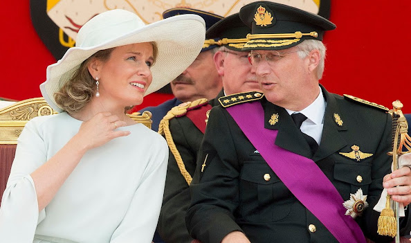 Queen Mathilde of Belgium meet citizens during a royal visit to the 'Fete au parc - Feest in het Park' celebrations on the occasion of Belgium's National Day