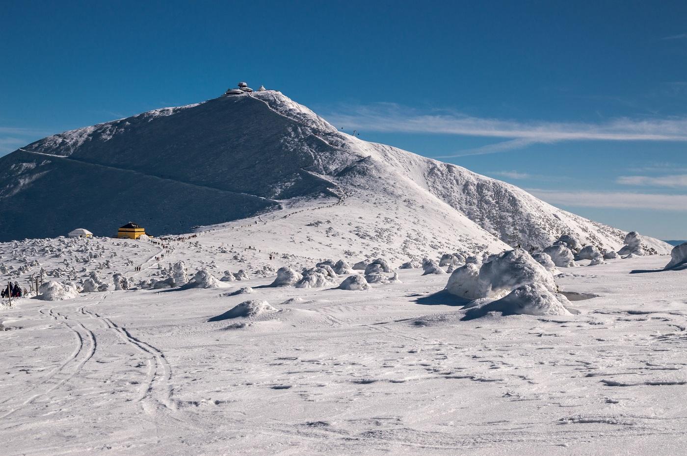 Śnieżka i Dom Śląski zimą