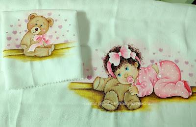 kit fraldas pintadas menina e ursinho