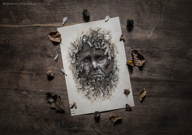 The Pain of the Oak, Green Man, original art by Victoria Francés.