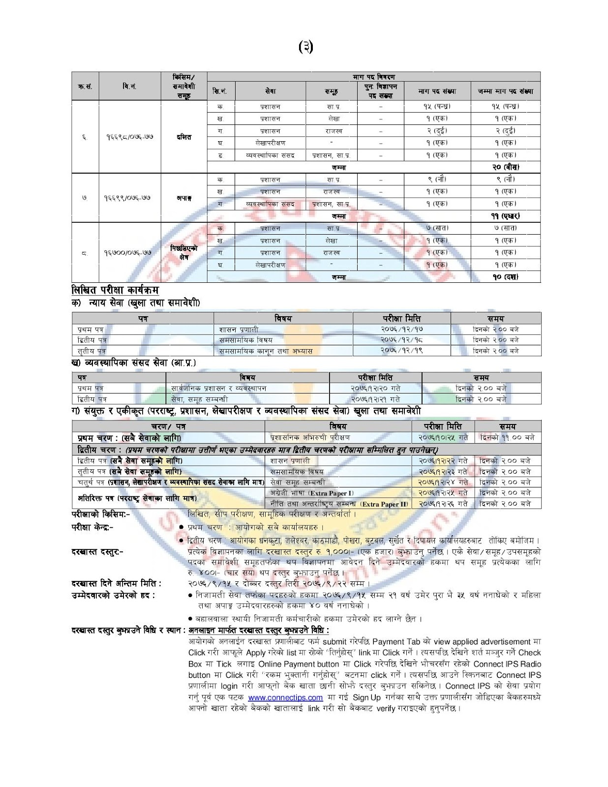 A Lot of Vacancies Announced for Section Officer - Gazetted Third Class 2076 - 2019