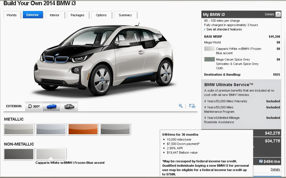 The Electric Bmw I3 Bmw I3 Bottom Line 494 Mo With No Money Down