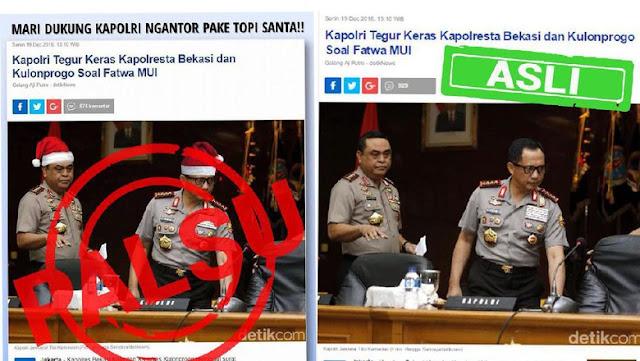 Kapok, Polisi Akan Buru Pengedit Foto Kapolri dan Wakapolri Pakai Topi Sinterklas