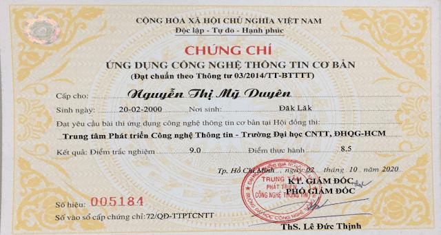 Chứng chỉ ứng dụng CNTT cơ bản tại Biên Hòa
