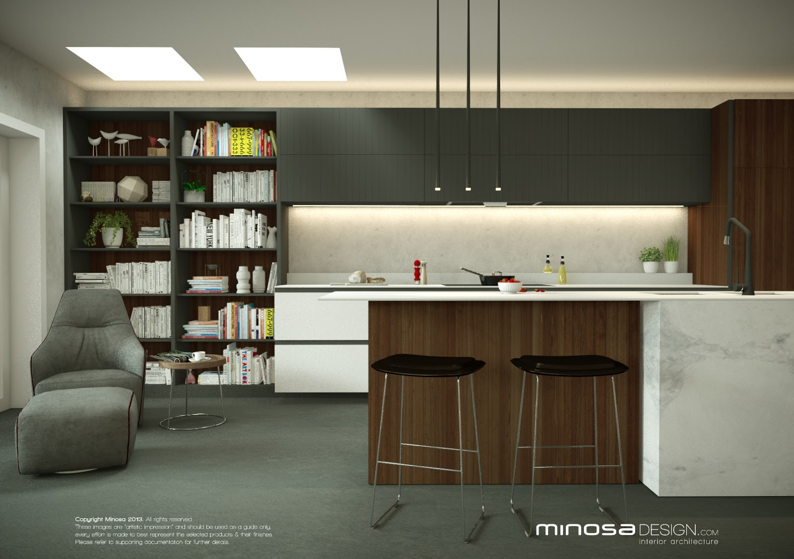 Minosa the living room for Kitchen design mauritius