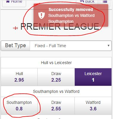 Step 8 - Remove selections if required - Quick Selection Soccer Betting - Hollywoodbets Mobile