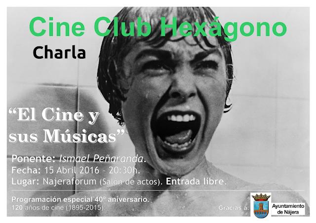 Cartel de la Charla: 'El Cine y sus Músicas' - Fotograma de 'Psicosis (Alfred Hitchcock, 1960)'