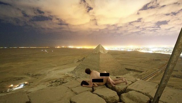 Outrage in Egypt after Danish photographer posts a picture of himself 'having sex' with a naked woman on top of the Great Pyramid