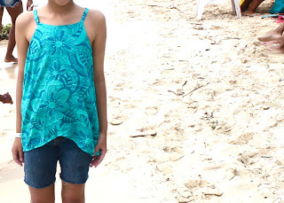 Child's teal floral voile camisole top made from the Oliver+S Pinwheel Tunic + Slip Dress sewing pattern.