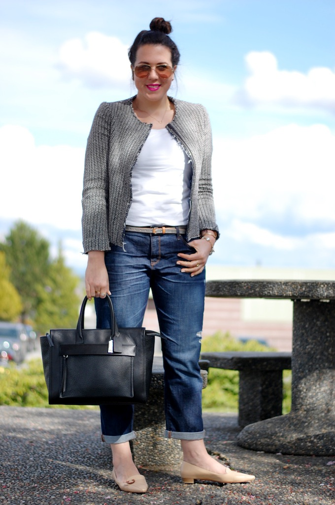 Gap boyfriend jeans and vintage Salvatore Ferragamo flats Covet and Acquire Vancouver fashion blog