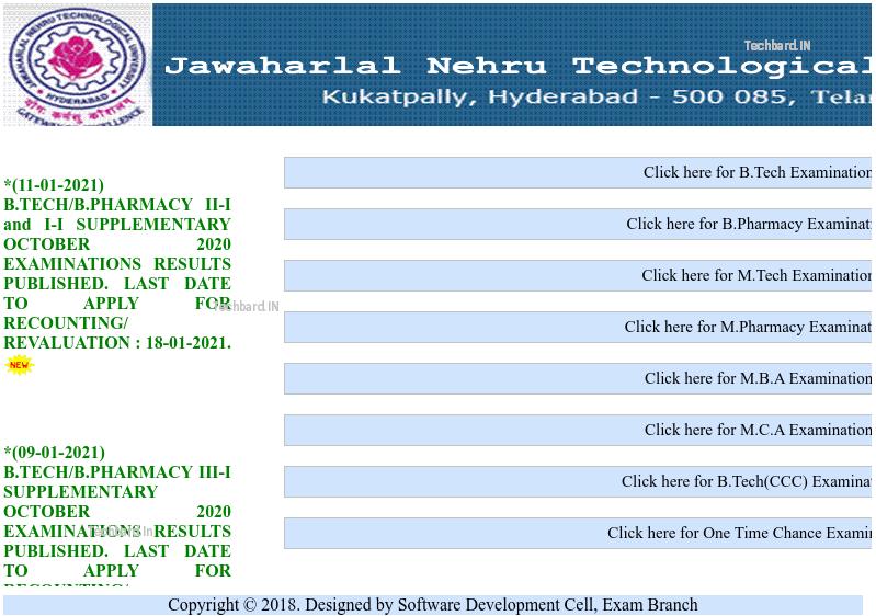 JNTUH B.Tech 3-2 Results 2020