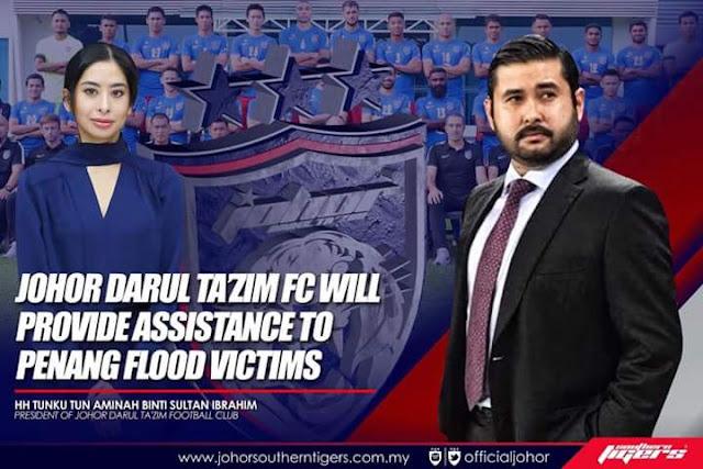 JDT Sumbang Wang Kemenangan Piala Malaysia Kepada Mangsa Banjir Pulau Pinang
