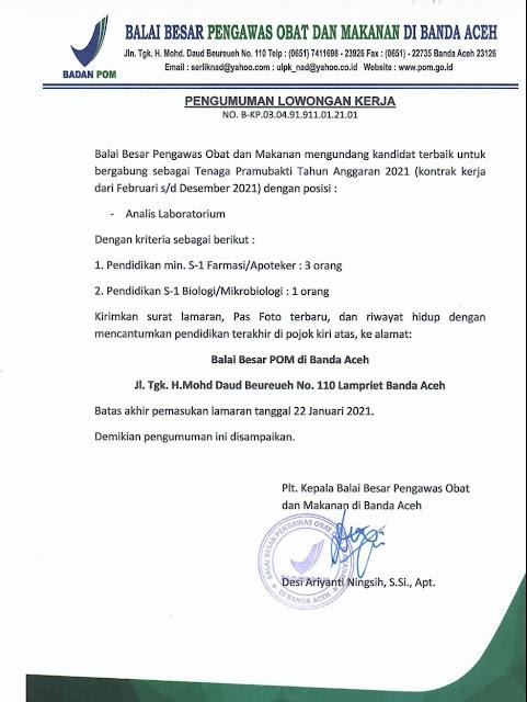 Lowongan Kerja Balai BPOM Januari 2021