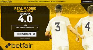 betfair supercuota victoria del Real Madrid al Eibar 22 octubre