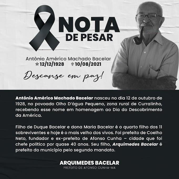 LUTO - Fundador da cidade de Afonso Cunha, Antônio Bacelar morre aos 93 anos