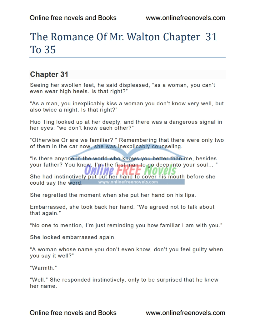The Romance Of Mr. Walton Chapter 31 To 35 PDF